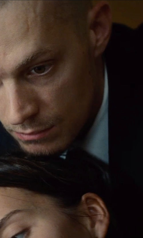 Joel Kinnaman with Messagerie Pinstriped Lapel Collar Suit in Run All Night