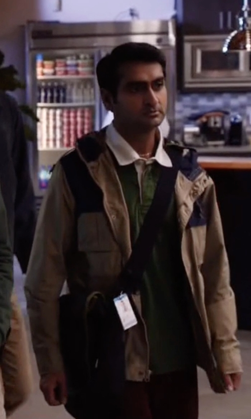 Kumail Nanjiani with Amazon Monogram Contrast Collar Rugby Shirt in Silicon Valley