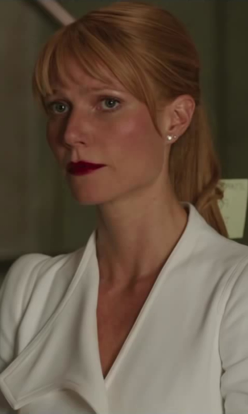 Gwyneth Paltrow with MALCOLM BETTS Trillion Cut Diamond Stud Earrings in Iron Man 3