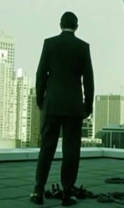 Hugo Weaving with Hugo Boss Grand Central Gabardine Two-Piece Suit in The Matrix