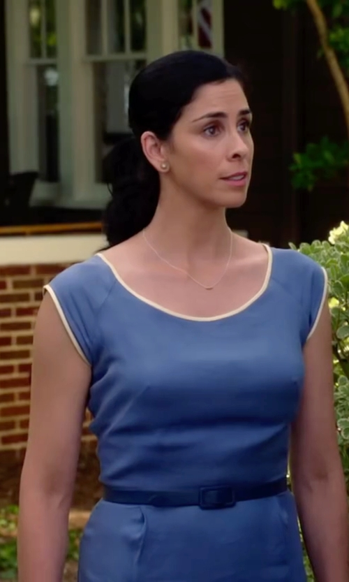 Sarah Silverman with Lafayette 148 New York Lunaire Sheath Dress in Ashby