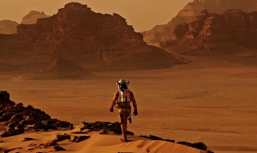 Matt Damon with Wadi Rum (Depicted As Mars) Aqaba, Jordan in The Martian