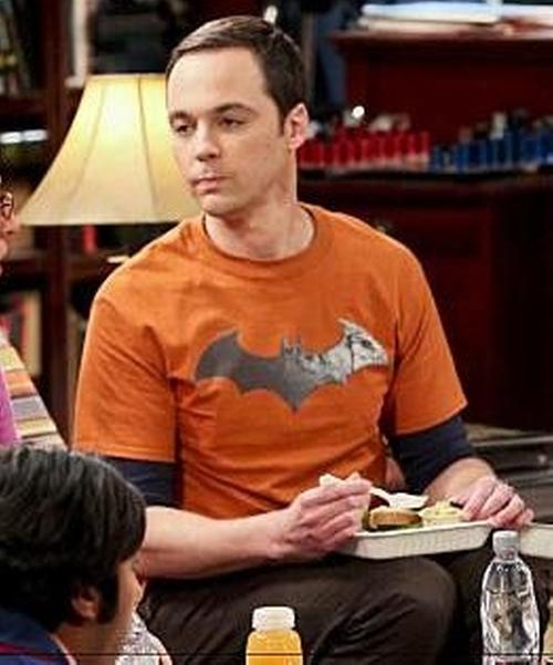 Jim Parsons with Bats Batman T-Shirt in The Big Bang Theory