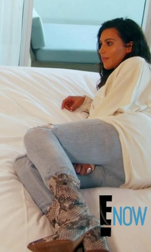 Kim Kardashian West with Yeezy Season 4 Python Boots in Keeping Up With The Kardashians