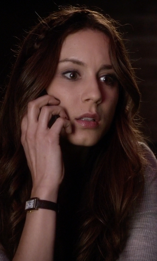 Troian Bellisario with Cartier Tank Americaine White Gold Midsize Watch in Pretty Little Liars