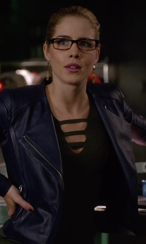 Emily Bett Rickards with Veda Dali Leather Jacket in Arrow