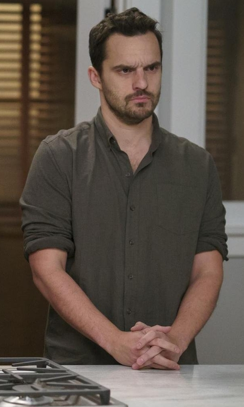 Jake Johnson with Polo Ralph Lauren Knit Casual Button-Down Shirt in New Girl