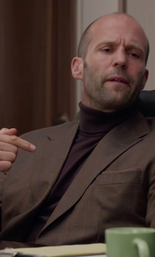 Jason Statham with Canali Classic Fit Solid Wool Blazer in Spy