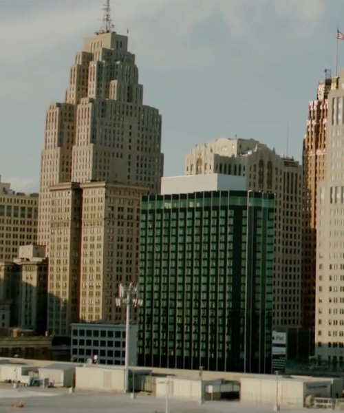 Greater Penobscot Building Detroit, Michigan, USA in Brick Mansions