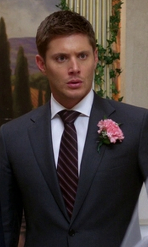 Jensen Ackles with Armani Collezioni Diagonal Stripe Classic Tie in Supernatural