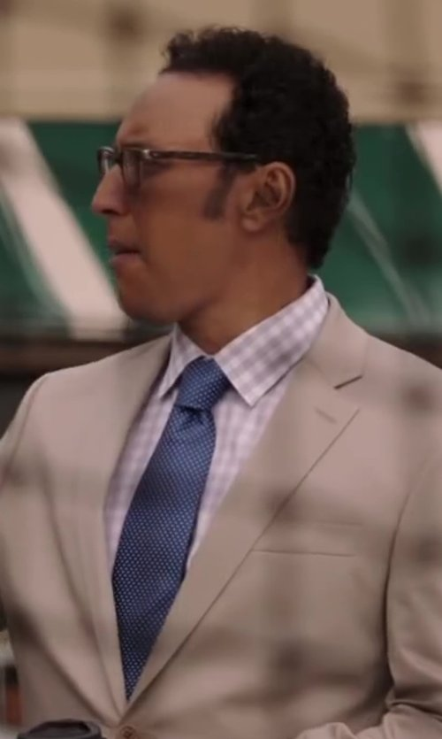 Aasif Mandvi with Ermenegildo Zegna Micro-Circle Neat Tie, Light Blue in Million Dollar Arm