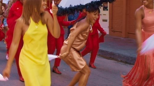 Jada Pinkett Smith with Boohoo Gaynor Satin Wrap Strappy Midi Dress in Girls Trip