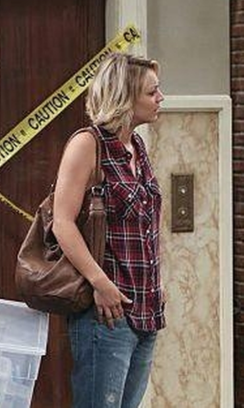 Kaley Cuoco-Sweeting with Forever 21 Tartan Plaid Top in The Big Bang Theory