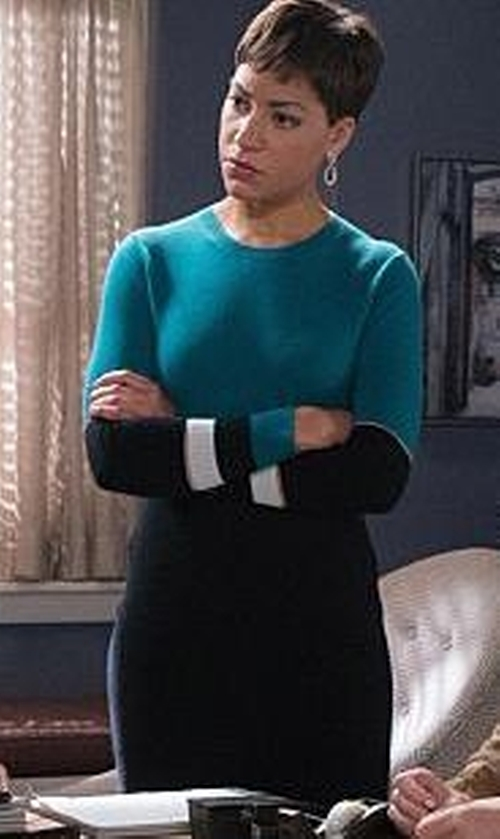 Cush Jumbo with Alison Sheri Longsleeve Sweater Dress in The Good Wife