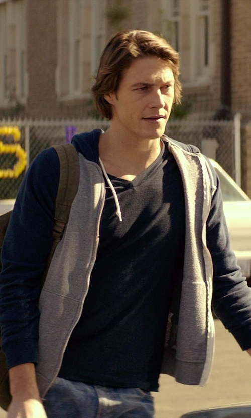 Luke Bracey with Threads 4 Thought Contrast Raglan Zip Hoodie in The Best of Me