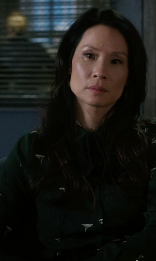 Lucy Liu with Julien David Digital Print Shirt in Elementary