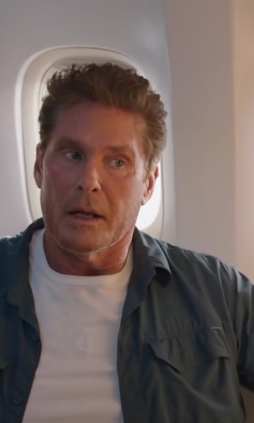 David Hasselhoff with John Varvatos Star USA Double Zip-Pocket Woven Shirt in Sharknado 4: The Fourth Awakens