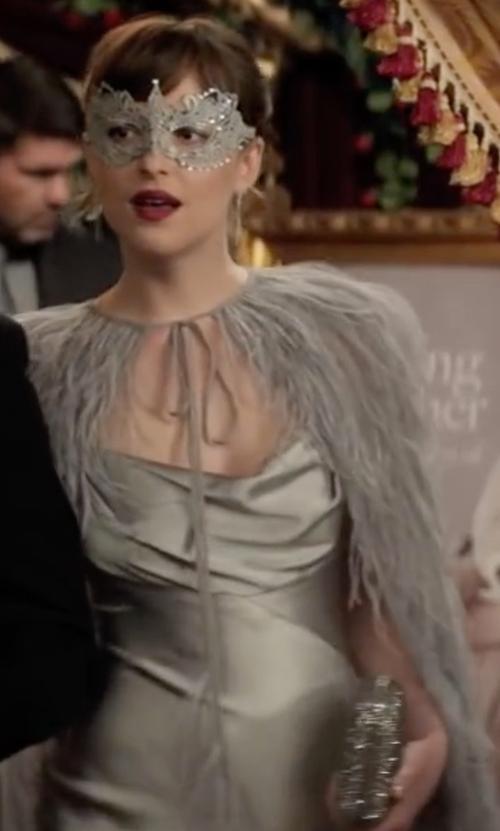 Dakota Johnson with Edie Parker Jean Glittered Acrylic Clutch Bag in Fifty Shades Darker