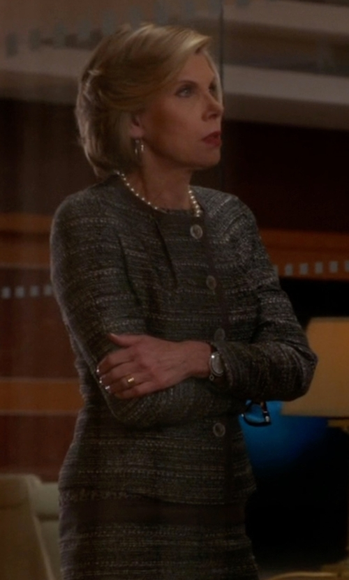 Christine Baranski with Super Blond Tweed Blazer in The Good Wife