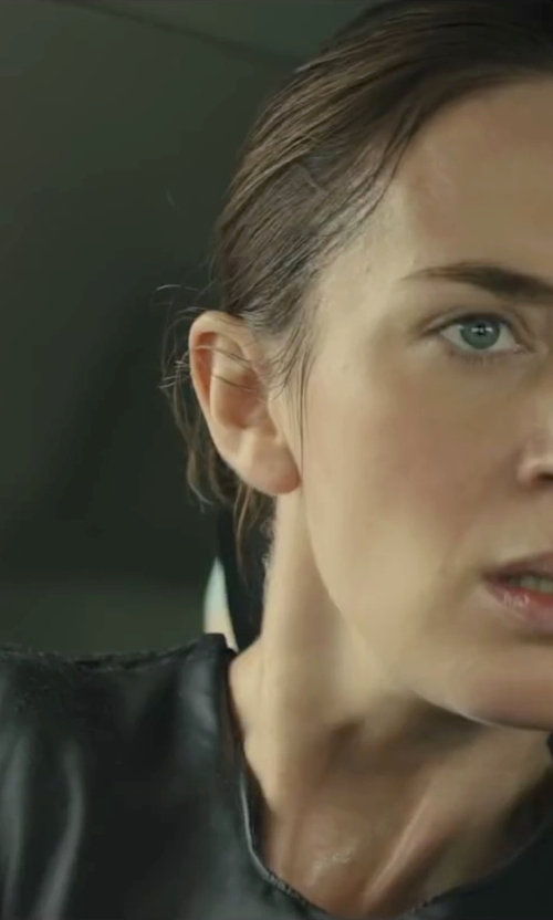 Emily Blunt with Vince Long Sleeve Crew Tee Shirt in Sicario