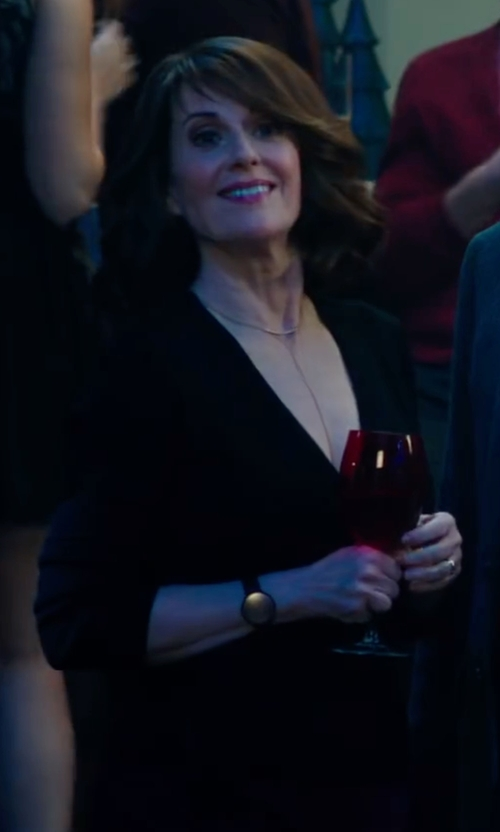 Megan Mullally with Helmut Lang Ribbed V-Neck Merino/Cashmere Sweater in Why Him?