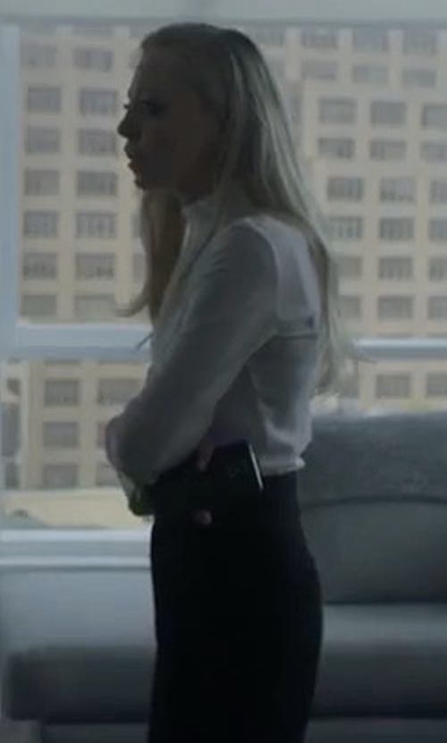 Portia Doubleday with Sara Battaglia Crepe Cady Turtleneck Blouse in Mr. Robot