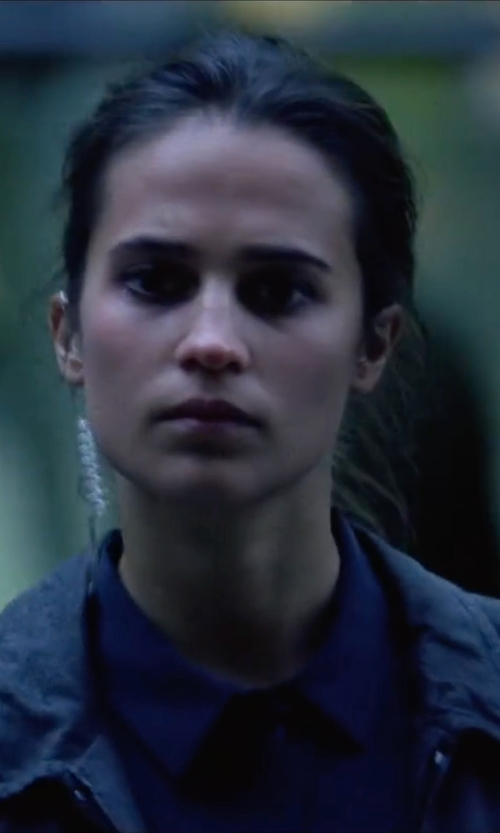 Alicia Vikander with Calvin Klein Jeans Trucker Zip-Front Utility Jacket in Jason Bourne