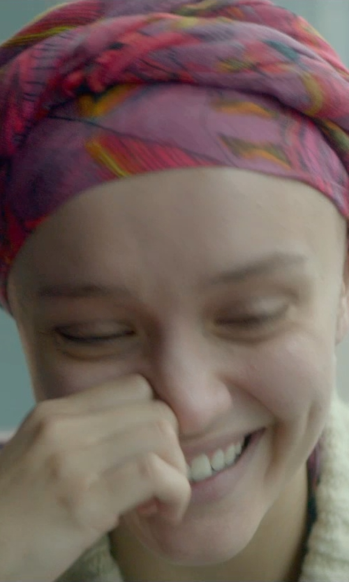 Olivia Cooke with Locomo Outerwears Floral Print Pattern Cardigan in Me and Earl and the Dying Girl
