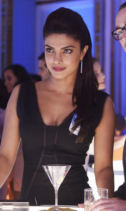 Priyanka Chopra with French Connection Bar Ball Drop Earrings in Quantico