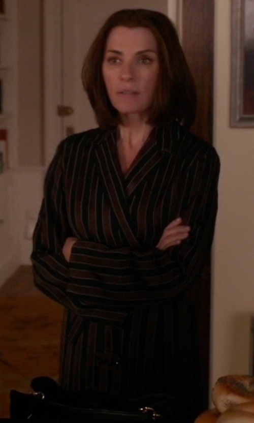 Julianna Margulies with Neiman Marcus Velour Striped Kimono Robe in The Good Wife