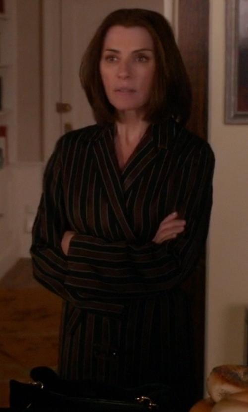 Julianna Margulies with Neiman Marcus Velour Striped Kimono Robe in The Good Wife