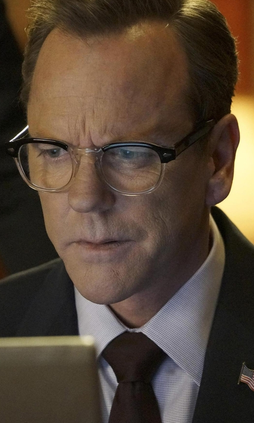 Kiefer Sutherland with Moscot Lemtosh Black Crystal Glasses in Designated Survivor