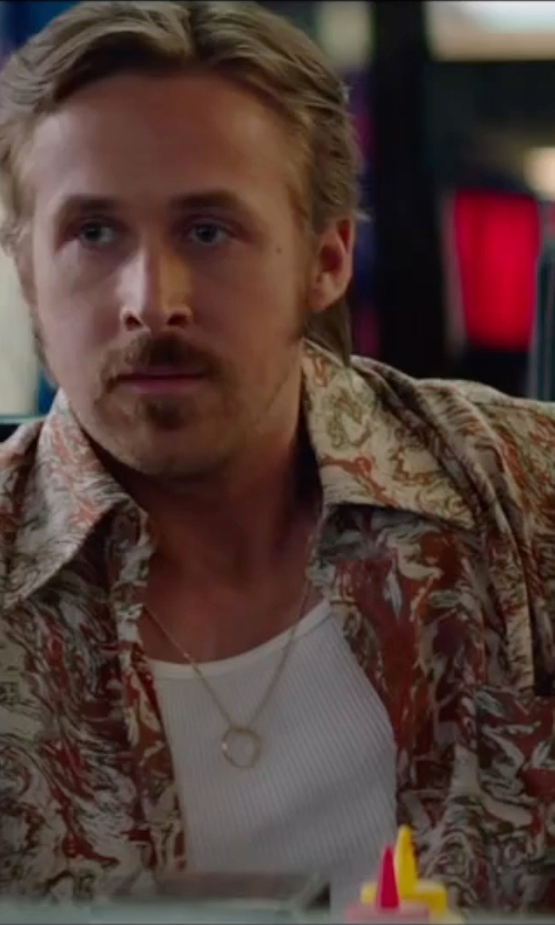 Ryan Gosling with Anto Beverly Hills Custom Made Marble Print Button Shirt in The Nice Guys