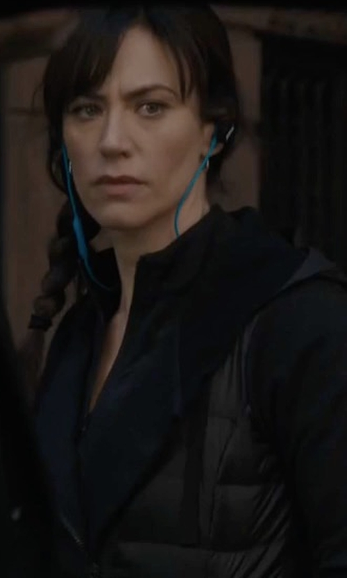 Maggie Siff with Michi Illusion Performance Jacket with Mesh Trim in Billions