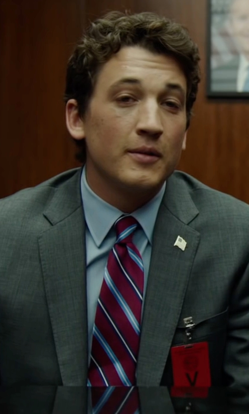 Miles Teller with Brooks Brothers Satin Framed Stripe Tie in War Dogs