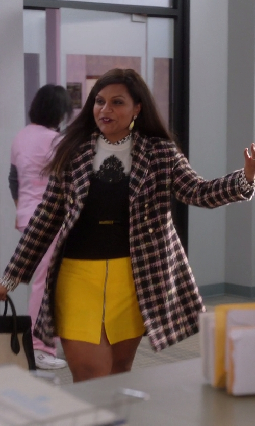 Mindy Kaling with Locust Whimsy Plaid Oversized Coat in The Mindy Project