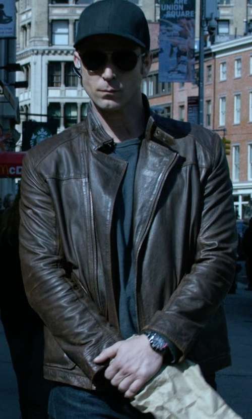 Wil Traval with Asos Barney's Leather Look Biker Jacket in Jessica Jones