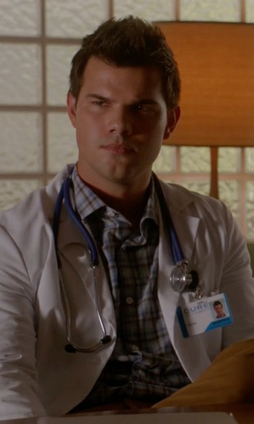 Taylor Lautner with Billy Reid Plaid Button-Up Shirt in Scream Queens