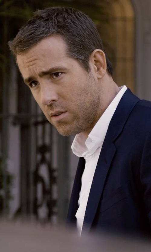 Ryan Reynolds with Charvet Solid Poplin Dress Shirt in Self/Less