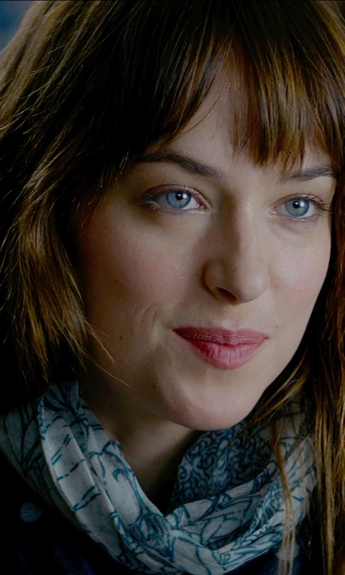 Dakota Johnson with Hinge Ikat Print Scarf in Fifty Shades of Grey