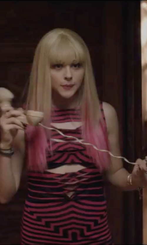 Chloë Grace Moretz with Alexander McQueen  Pink Stripe Viscose Dress in Neighbors 2: Sorority Rising