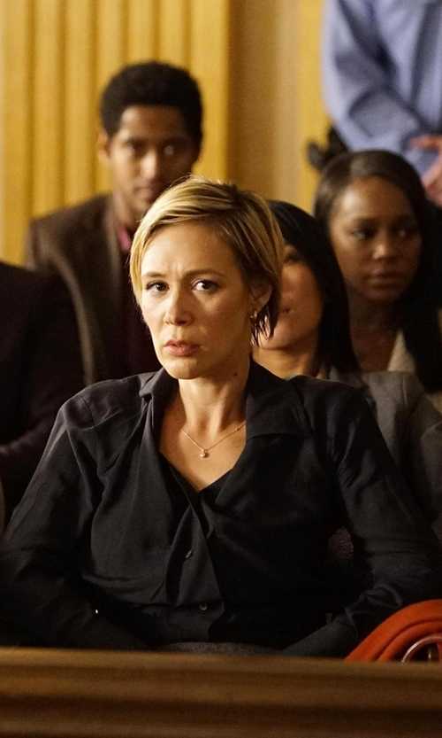 Liza Weil with Theory Tenia Long-Sleeve Blouse in How To Get Away With Murder