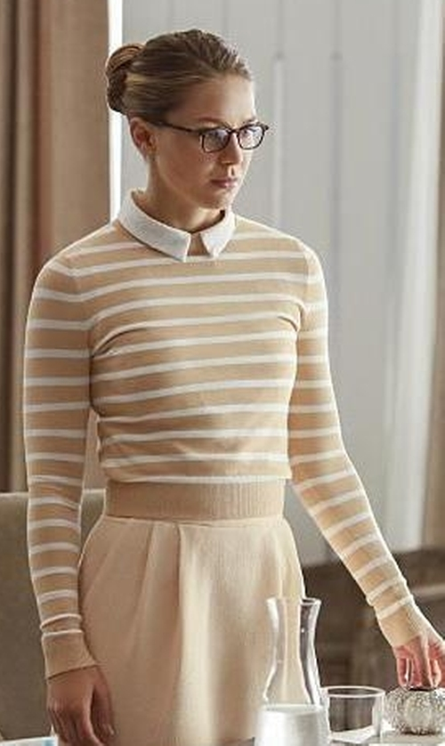 Melissa Benoist with Eileen Fisher Long-Sleeve Striped Box Crop Top in Supergirl
