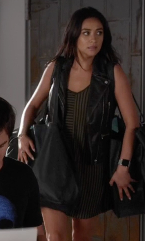 Shay Mitchell with Sandro Sleeveless V-Neck Stripe Dress in Pretty Little Liars