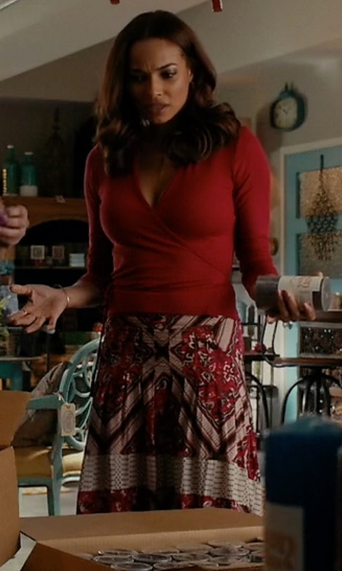 Rochelle Aytes with Jucca Paisley Knee Length Skirt in Mistresses