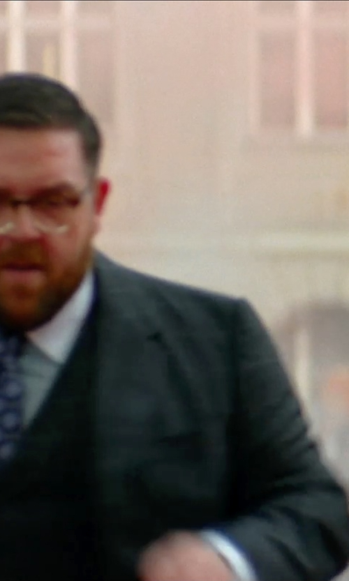Nick Frost  with Hickey Freeman Two-Piece Pinstripe-Check Wool Suit in Unfinished Business