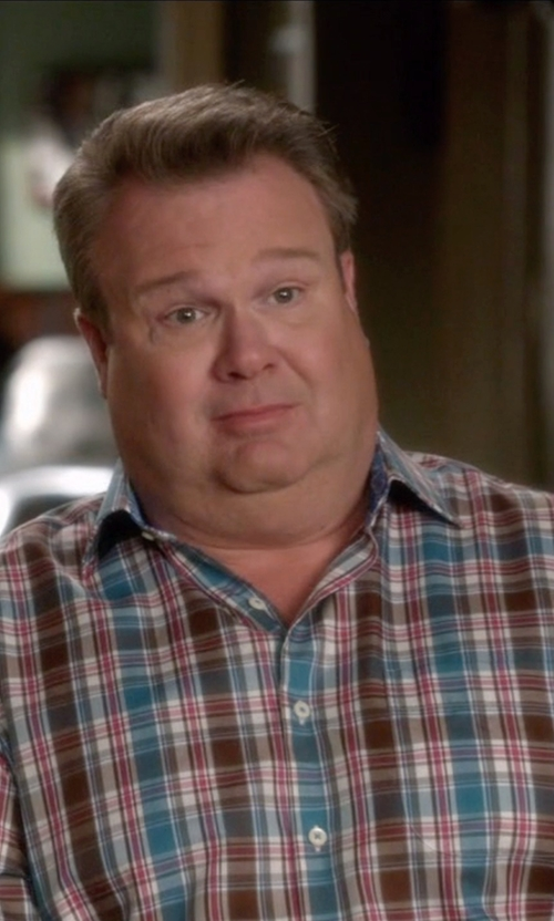 Eric Stonestreet with Polo Ralph Lauren Plaid Poplin Button Down Shirt in Modern Family