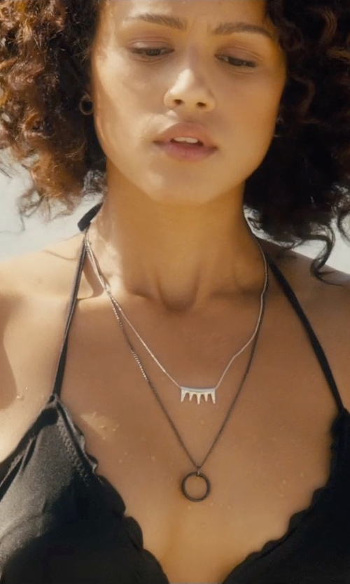 Nathalie Emmanuel with Luli Fama Cosita Buena Wavey Triangle Bikini Top in Furious 7