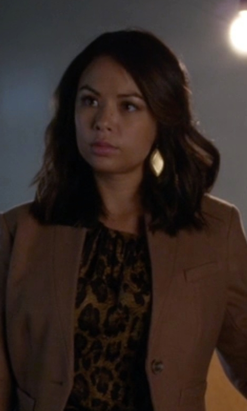 Janel Parrish with Stephanie Kantis Geometric Earrings in Pretty Little Liars