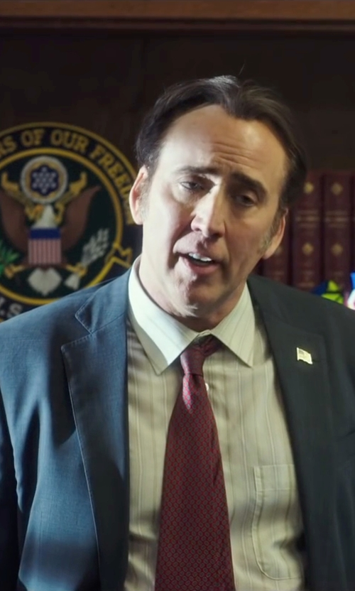 Nicolas Cage with Jaggy Stripe Shirt in Snowden